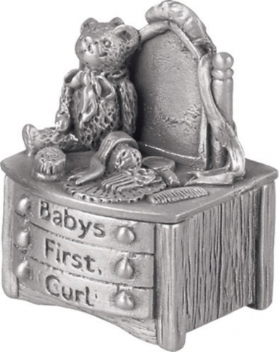 Pewter Dressing Table First Curl Box Christening Gift